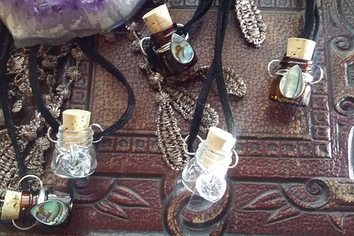 Amber or Clear Apothecary Bottle Diffuser Pendant
