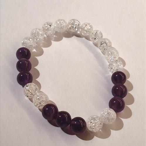 Amethyst + Clear Crackle Quartz Bracelet