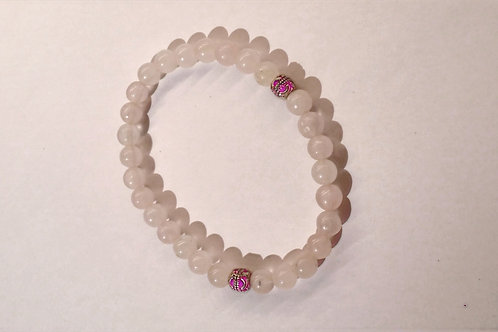 Rose Quartz - Silver Accent Bracelet