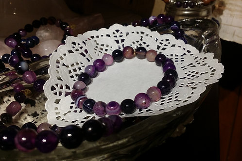 Natural Purple Banded Agate Gem Bracelet