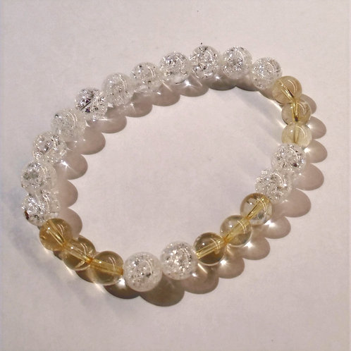 Citrine + Clear Crackle Quartz Bracelet