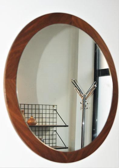 Miroir rond avec contour en teck