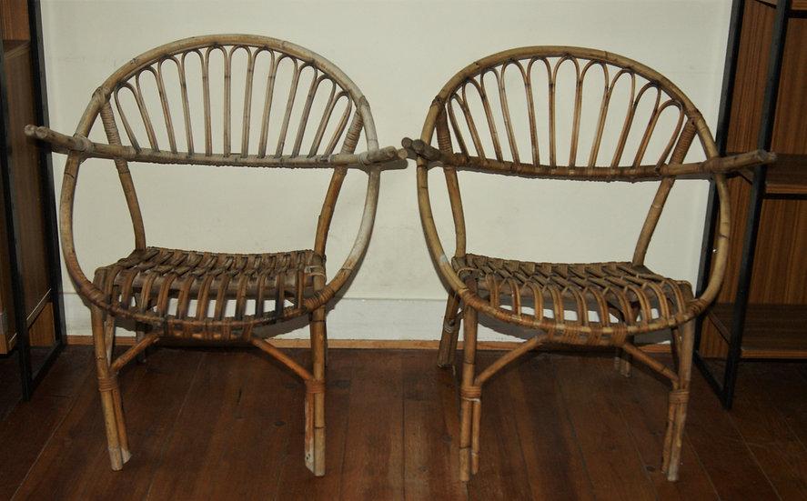 Paire de fauteuils en rotin-Louis Sognot