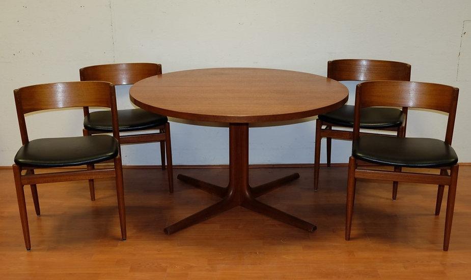 Table ronde en teck et 4 chaises