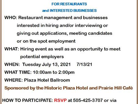 Job Fair July 13th Plaza Hotel, RSVP at lvsmchamberofcommerce@gmail.com or call 505-425-3707