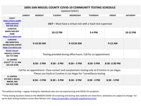 100% San Miguel Covid-19 Testing Schedule