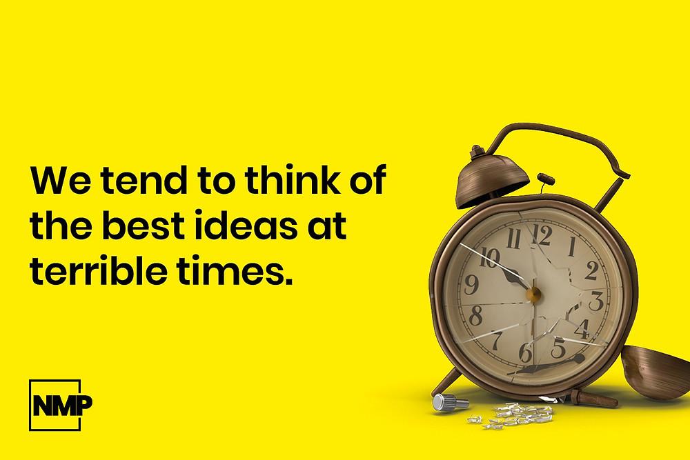 No More Pixels quote image of a broken clock to explain a graphic design idea.