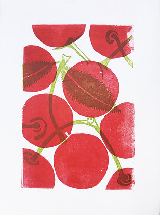 Cherries linoprint