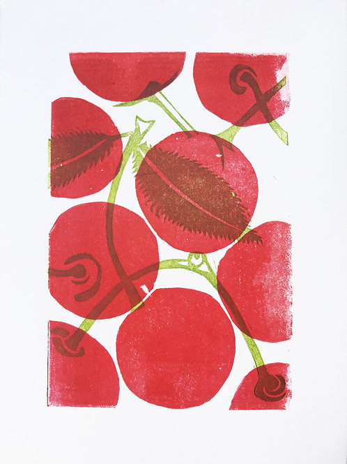 Cherries linoprint