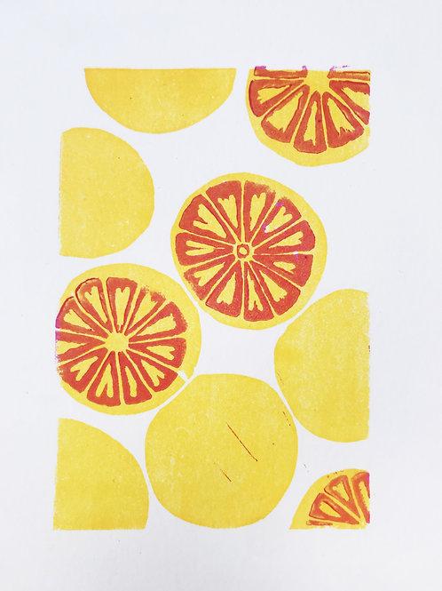 Grapefruits linoprint