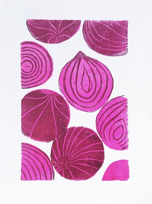 Red onions linoprint
