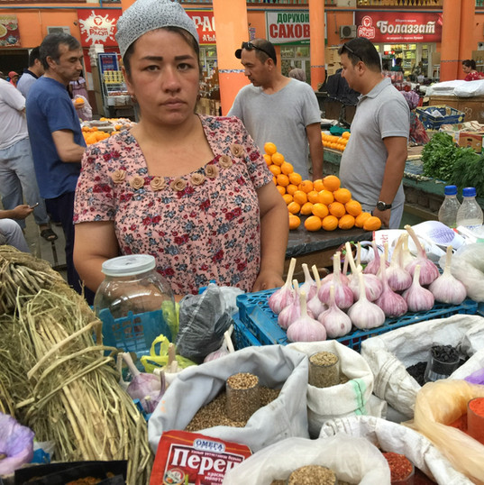 Market in Tajikistan, various grocery items are sold here