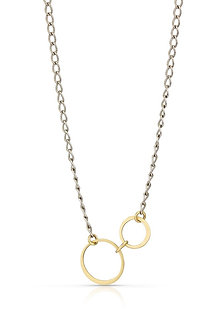 14K Gold Circles on Oxidized Silver Chain