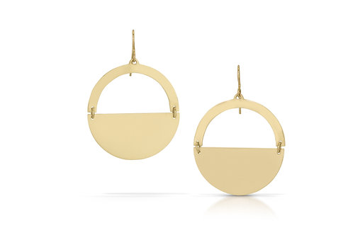 14K Gold Semicircle Earrings