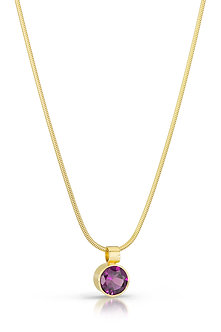 Rhodolite Garnet in 18K Gold Necklace