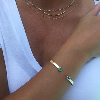 14K Emerald & Aquamarine Cuff