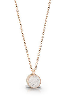 14K Rose Gold Small Concrete Circle Necklace