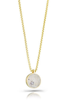 Diamond in White Concrete 14K Gold Necklace