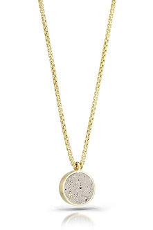 Gold Flecks in White Concrete Necklace