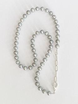 Grey Pearl & Silver Necklace