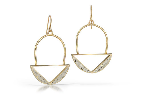 Bloom Earrings-White Concrete with Gold Flecks