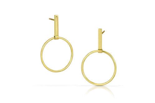 18K Gold Bar/Circle Earrings