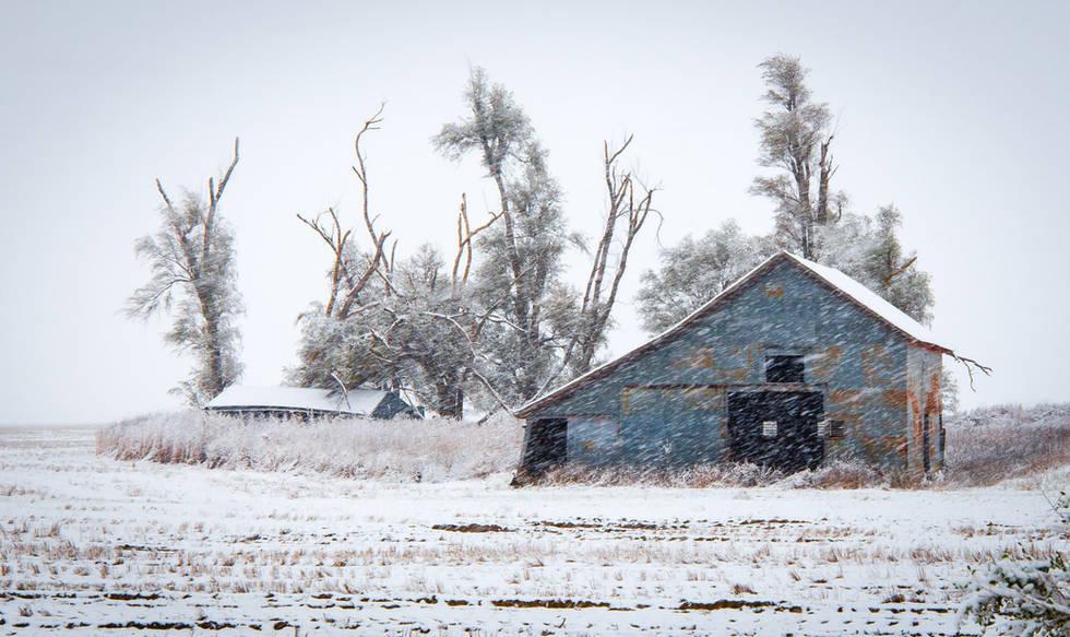 Kansas Farmstead Ruins in Snow