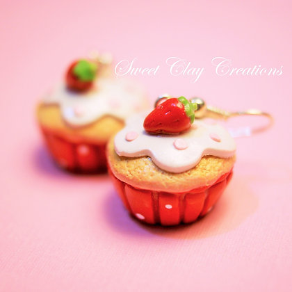 Strawberry Shortcake Cupcake Earrings