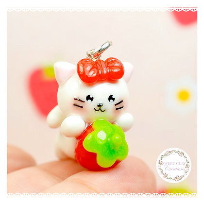Strawberry Kitty Kawaii Charm