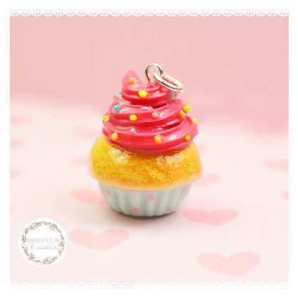 Teal Strawberry Cupcake Charm