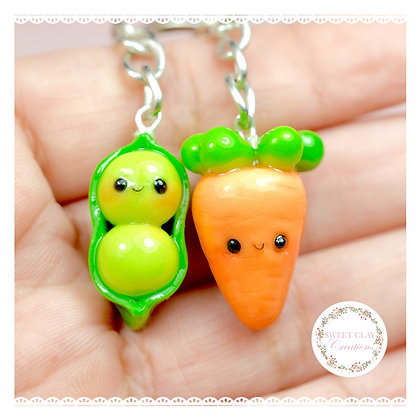 Peas And Carrots BFF Keychain