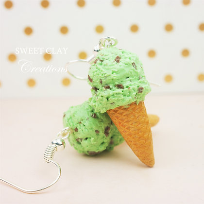 Mint Chocolate Ice Cream Earrings