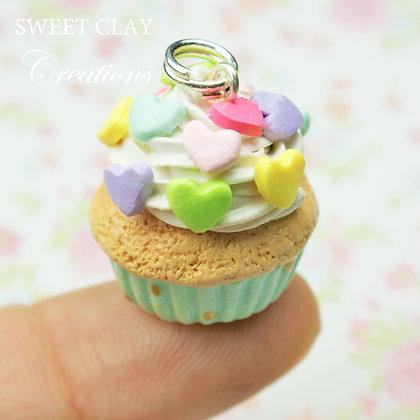 Teal Rainbow Hearts Cupcake Charm