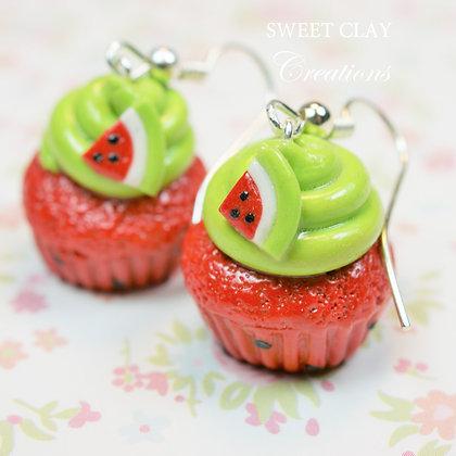 Watermelon Cupcake Earrings