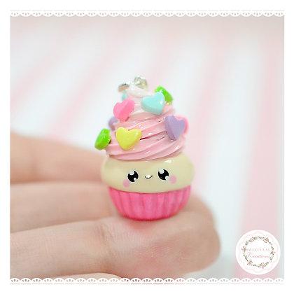 Rainbow Heart Cupcake Kawaii Charm