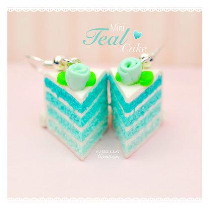 Teal Cake Rose Earrings