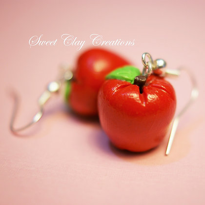 Mini Red Apple Fruit Earrings