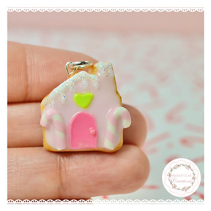 Pink Gingerbread House Cookie Charm