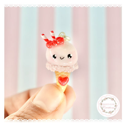 Strawberry Kawaii Ice Cream Charm