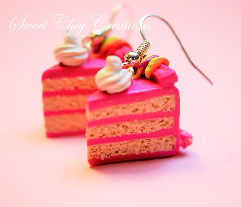 Hot Pink Birthday Cake Earrings