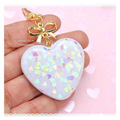 Glittery Heart Keychain