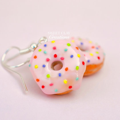 Soft Pink Rainbow Donuts Earrings/Charm