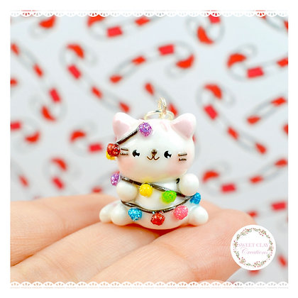 Christmas Lights Cat Kawaii Charm