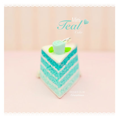 Teal Cake Rose Charm