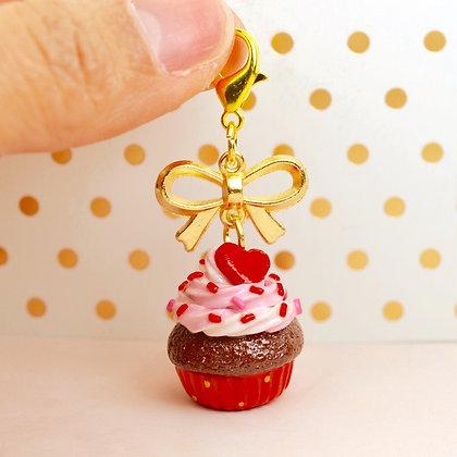 Valentine's Cupcake Charm Keychain