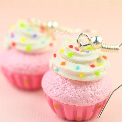 Pink Rainbow Cupcake Earrings