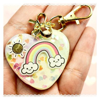 Rainbow Kawaii Heart Keychain