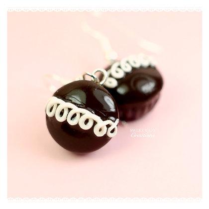 Chocolate Cupcake Swirl Earrings