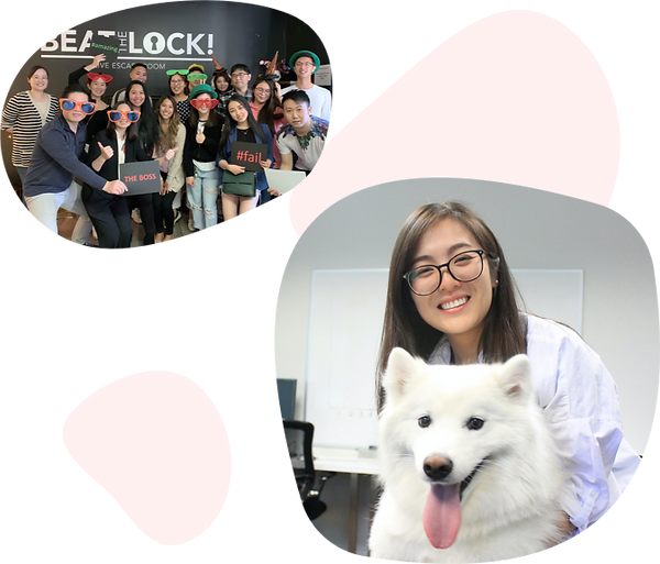 One small image of a large team at an escape room in silly glasses and hats while holding funny signs and another small image of a woman with glasses hugging a white fluffy dog.