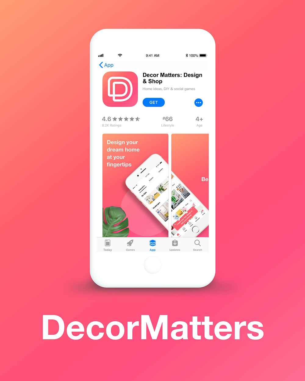 An image of the DecorMatters app in the Apple App Store on a gradient background of various pink and orange hues.